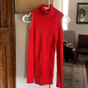 Red Cold Shoulder Sweater